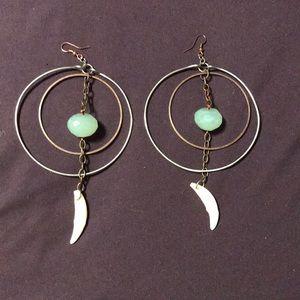 Jewelry - Bone and crystal statement hoop earrings